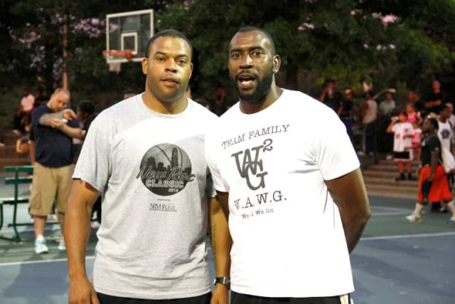 Rashaun Young, left, with brother Rasheim Young, was hired as the new boys basketball coach at New Rochelle High School, where the brothers were both stars in the early1990s.