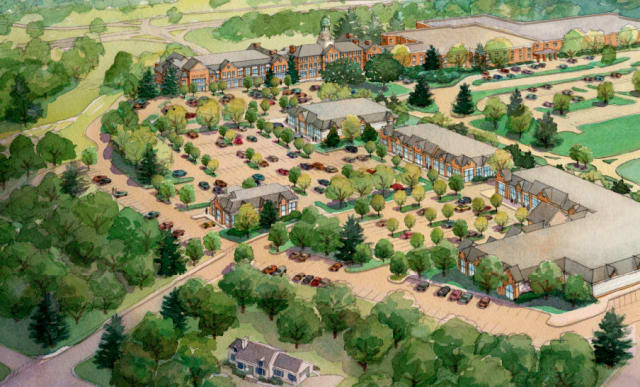 The proposed Chappaqua Crossing retail site, as viewed from the southeast.