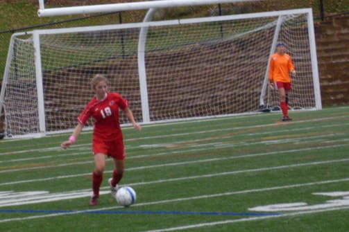 Greenwich girls' soccer player Isabella Pehrson control the ball during a game against Westhill.