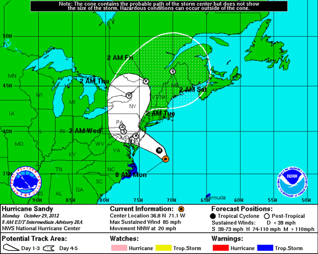 Flood and high wind warnings are in effect for Westchester County due to Hurricane Sandy