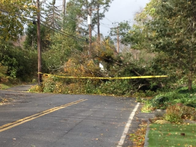 Drake Road is just one of many Scarsdale roads that are still plagued by fallen trees and wires.
