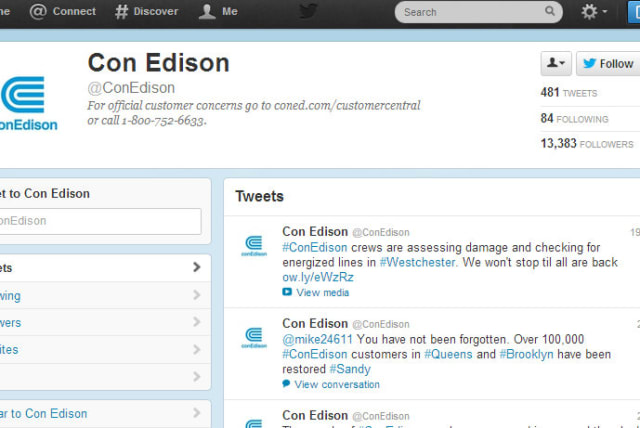 Con Edison is updating residents on power outages and restoration effects on Twitter and Facebook.