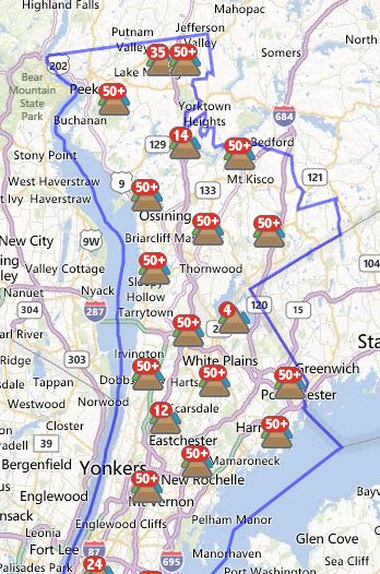 More than 7,500 White Plains customers were without power Saturday morning.