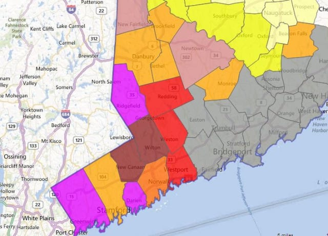 More than 12,700 customers in Greenwich were without power Saturday morning.