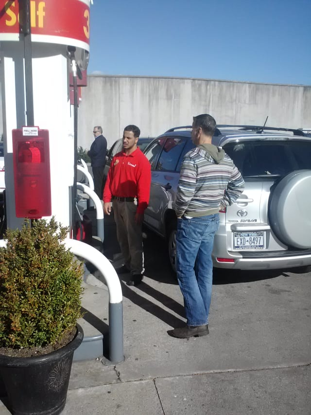 Shell Gas Station Employee Sam Lorenzo (red shirt) said the station got gas service back Sunday morning.