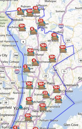 More than 9,000 Yonkers customers were without power Tuesday morning.