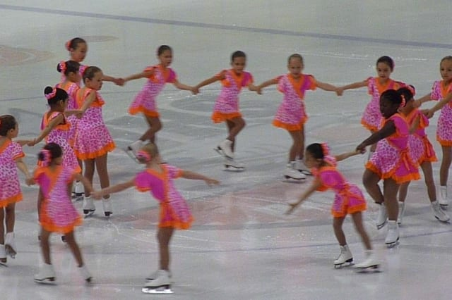 The Skyliners Beginner line skates at a season-opening pep rally at Terry Conners Rink in Stamford.