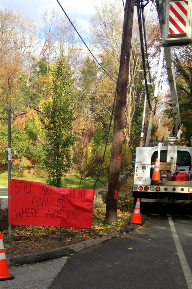 """This sign was posted at the corner of Furnace Dock and Furnace Brook roads in Cortlandt, and reads, """"STILL NO POWER!!! CON ED WHERE ARE YOU?"""""""