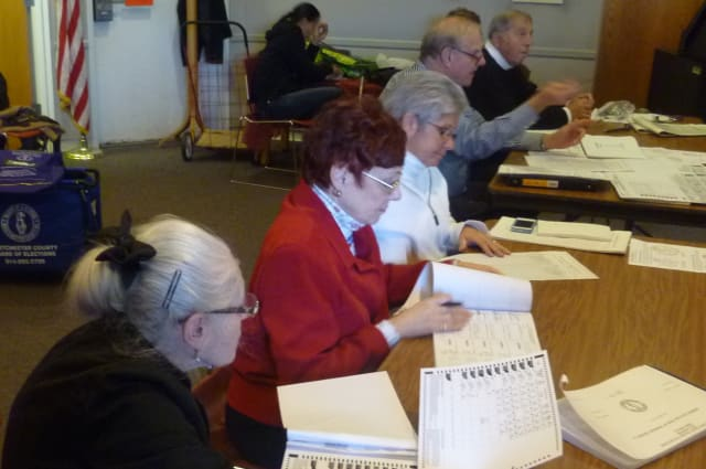 Hundreds of voters turn out at the Harrison Public Library on Tuesday.