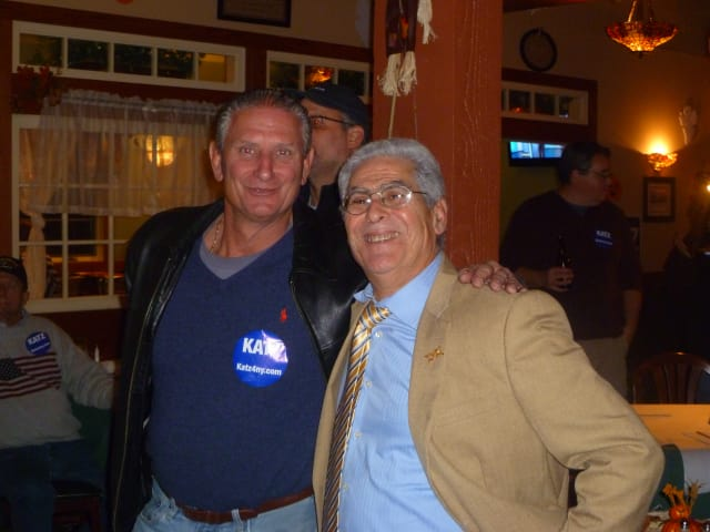 Assembly member Steve Katz (right) poses with Yorktown Supervisor Michael Grace at his victory party at Murphy's Restaurant.
