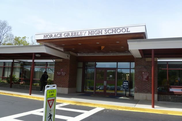 The Horace Greeley High School gym will remain for showers and charging.