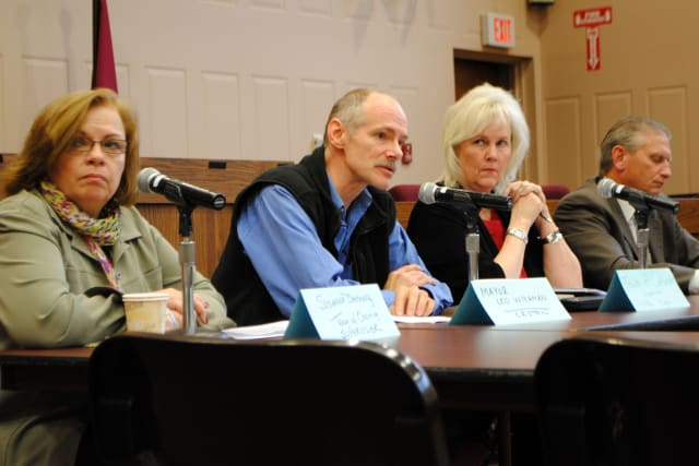 From left, Suzanne Donnelly, Supervisor of the Town of Ossining, Leo Wiegman, Mayor of the Village of Croton, Supervisor Linda Puglisi of the Town of Cortlandt, and Supervisor Michael Grace, of the Town of Yorktown. Joan Maybury arrived later.
