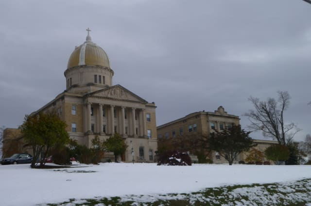 Snow covers the EF School campus in Tarrytown on Thursday morning.