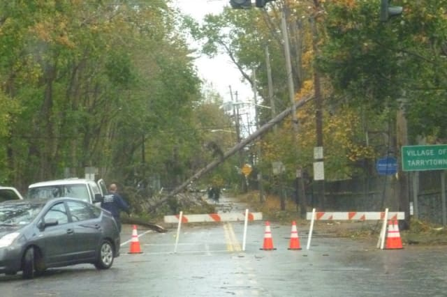 Hurricane Sandy knocked out power to several areas in Tarrytown, including Route 9 just south of the Irving neighborhood.