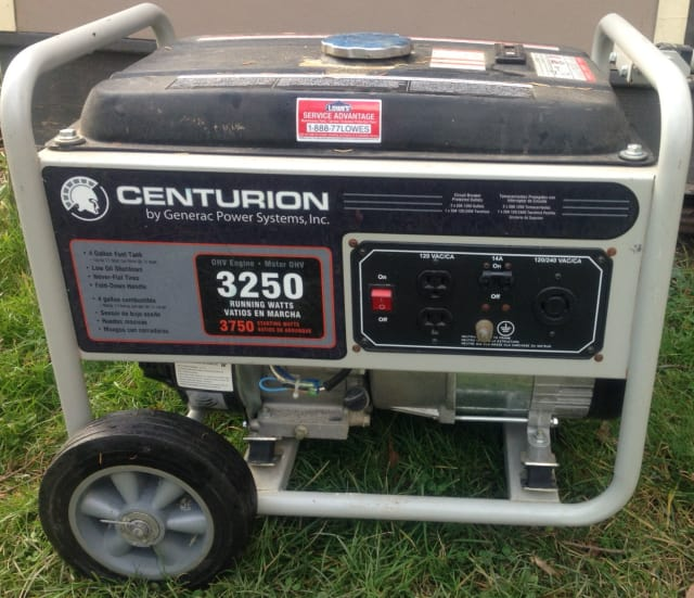 Gas-powered generators such as this one emit carbon monoxide, which can be fatal.