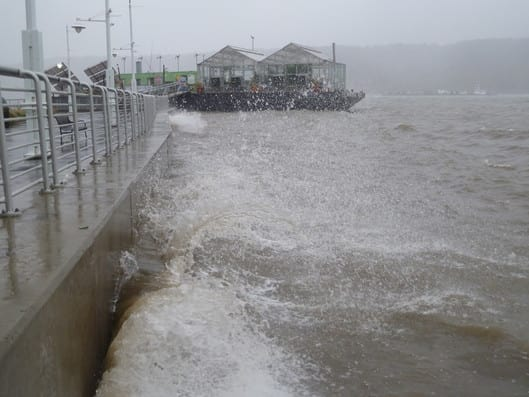 Marie Johns, Deputy Administrator of the U.S. Small Business Administration, will be in Yonkers on Wednesday to see the effects of flooding from Hurricane Sandy. Here, water splashes against the Yonkers pier as Sandy approached.