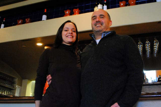 Shahla and Michael Jannetta stand in Sala On Hudson, Croton's newest dining choice.
