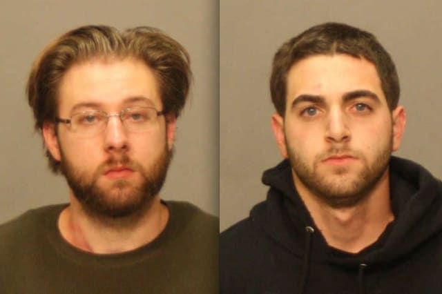 Patrick Kelly, left, and Anthony Cardile are suspected of firing multiple rounds from guns out of their car.