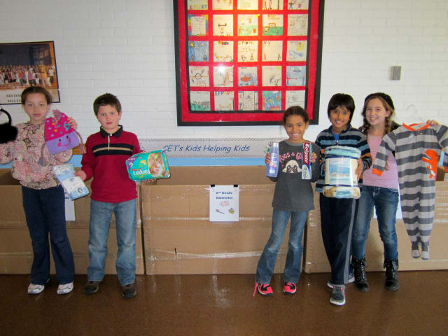 Students at Carrie E. Tompkins Elementary School in Croton-on-Hudson collected items for victims of Hurricane Sandy.