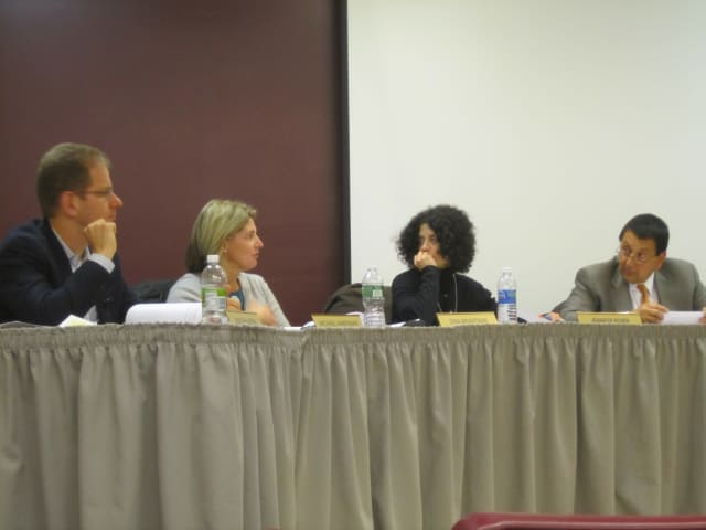 Members of the Briarcliff Board of Education talk about revising the district's head lice policy Tuesday evening.