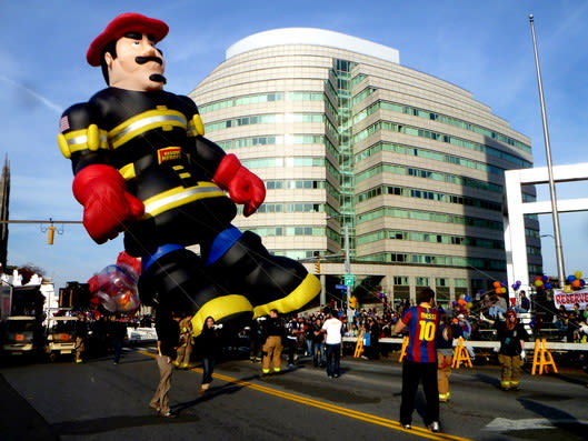 The Stamford Volunteer Fire Department carries Billy Blazes across the finish line at last year's Balloon Spectacular.