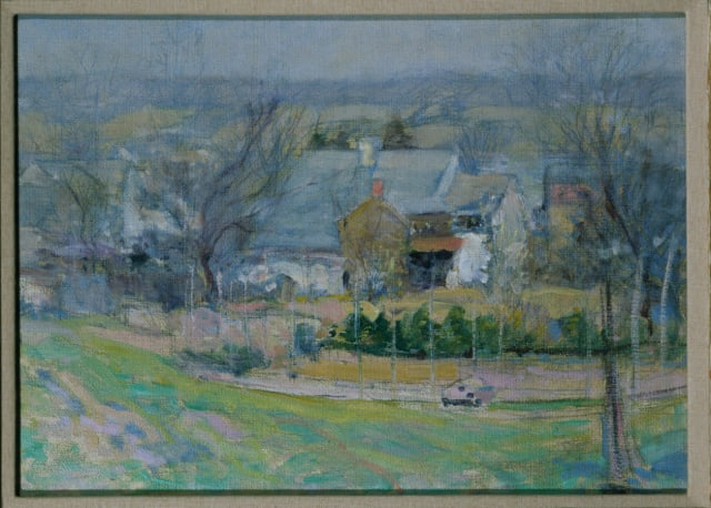 John H. Twachtman (1853–1902), Holly House, Cos Cob, Connecticut, 1902, oil on canvas, 14½ x 20 in. Williams College Museum of Art.