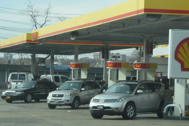 Despite the prices, motorists continue to fill up in Pelham Manor.