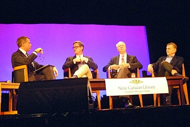 News anchor Brian Williams was joined on the New Canaan High School Stage by MSNBC Host Joe Scarborough, CNN analyst David Gergen and collumnist Peter Goldmark for a panel on the recent election and what's to come in the next few years.