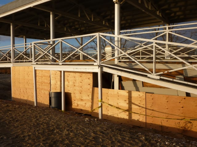 The boarded up pavilion at Bayley Beach in Rowayton weeks after Hurricane Sandy.