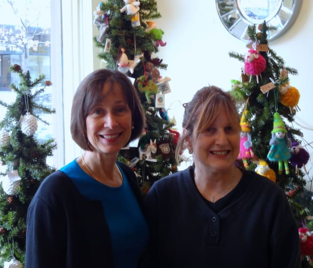 Janet George (left) and Susan Piper, owners of Silk Road in Bronxville will have several sales to attract customers on Small Business Saturday.
