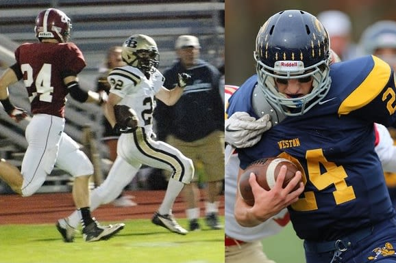 Joel Barlow's Alex Lockwood, left, and Weston's Justin Schaffer will be among the key performers in Thursday's Thanksgiving Day showdown.