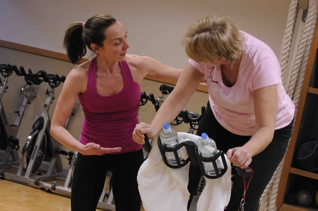 Exercise Physiologist Erica Christ (left) from Greenwich Hospital's Weight Loss & Diabetes Center works one-on-one with clients to provide motivation and guidance for safe and effective exercise.