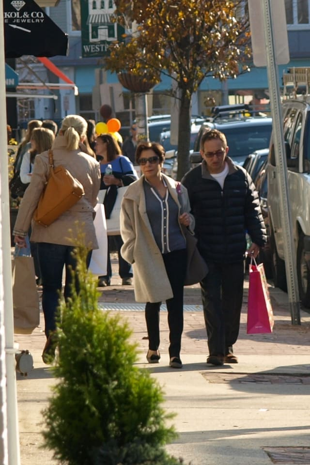 Bargain hunters along Westport's Main Street Friday afternoon.
