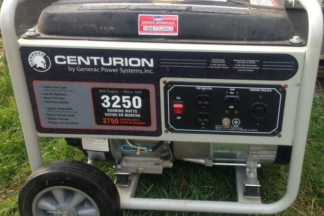 Portable, gas-powered generators such as this one emit carbon monoxide, which can be fatal.
