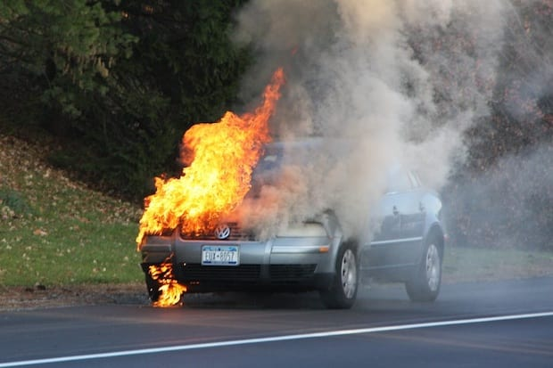 A car caught fire about 3:30 p.m. Nov. 17 while traveling westbound on Route 119 in Elmsford.