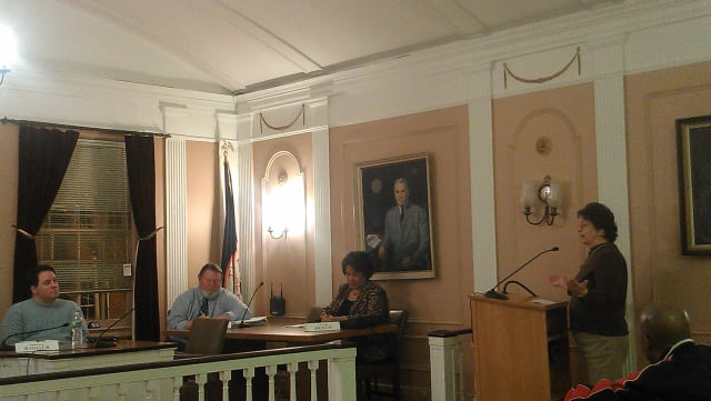 Peekskill employee Diane Blank, right, was among those who spoke at Monday's public hearing on the 2013 city budget.