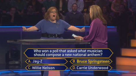 "Yorktown teacher Jill Proskin answers a question during her ""Who Wants to be a Millionaire?"" appearance."