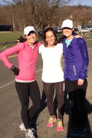Wilton's Lynn DiNanno, left, Kate Denious, center and Kacky Theoharides trained together and finished the Philadelphia Marathon last month.