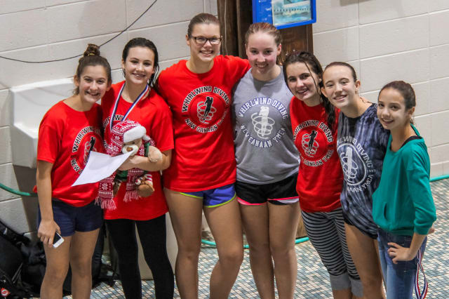 Whirlwind divers (left to right) Sophia Rapp, Rachel Burston, Genevieve Angerame, Kirsten Parkinson, Kyla Pech, Kylie Towbin, and Allison Courtney competed at the Lord of the Boards.