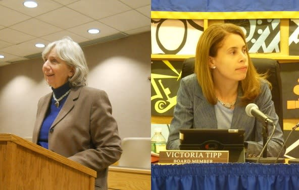 New Castle Supervisor Susan Carpenter, left, and Chappaqua school board President Victoria Tipp will meet Tuesday night. The boards will hold a rare joint meeting Tuesday.