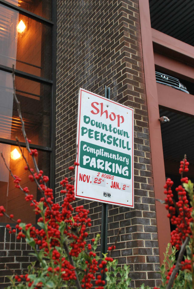 Parking is free for up to two hours in downtown Peekskill this holiday season.
