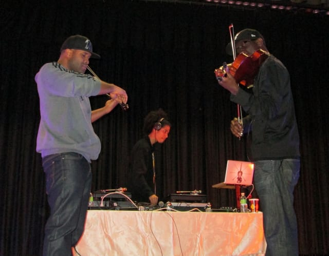 Kev Marcus (left), DJ TK (middle) and Wil B performed at a Yonkers school to inspire students to follow their dreams.