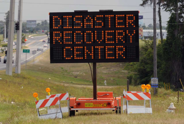 Police say Angel Velez, of the Bronx, stole multiple batteries from electronic road signs, such as the one pictured.