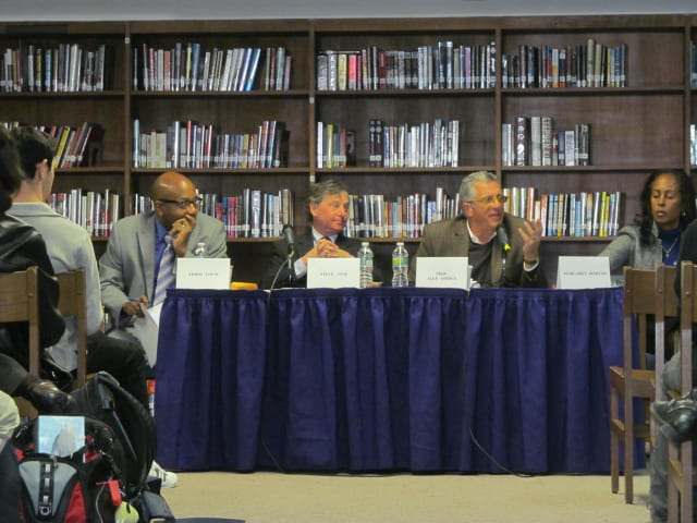 Panelists discuss issues with New Rochelle High School AP students Thursday.