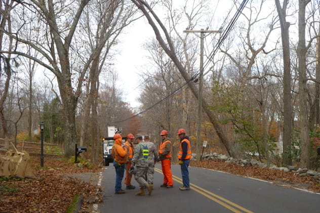 Clearing downed trees from Weston area roadways was a major task after Hurricane Sandy hit.