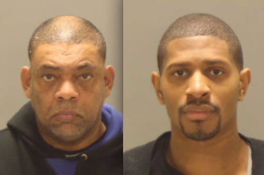 Juan Madrigal, left, and Patrick Robinson, both of New York City, were arrested last week for allegedly trying to defraud a Greenwich bank, police report.