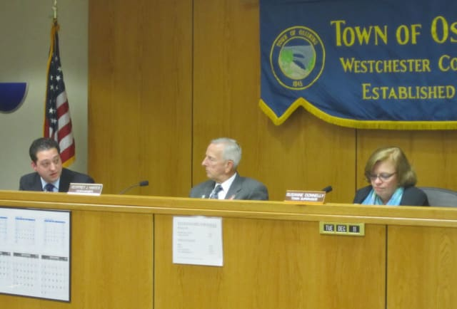 The Town of Ossining passes its 2013 budget Tuesday evening with a 4-1 vote. Councilman Peter Tripodi, left, holds the sole dissenting vote.