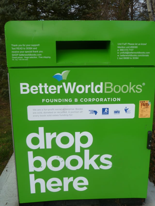 Books can be dropped off in this recycling container outside of the Harrison Public Library.