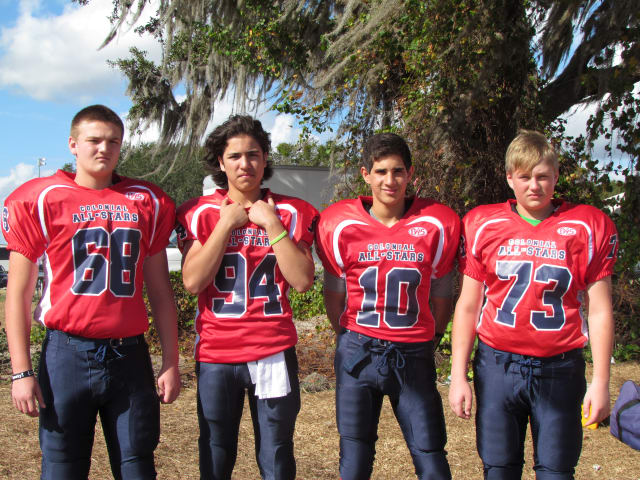 Norwalk football players (left to right) Jimmy Makszin, Jeff Capone, Nick Granata and Greg Gudalewski played for a Colonial Conference All-Star team in Florida.