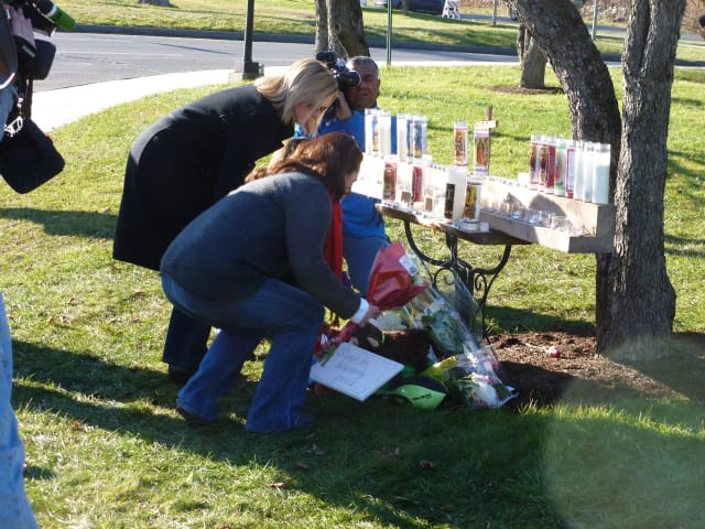 Memorials to the victims of the Sandy Hook School shooting appeared all around Newtown and surrounding communities.